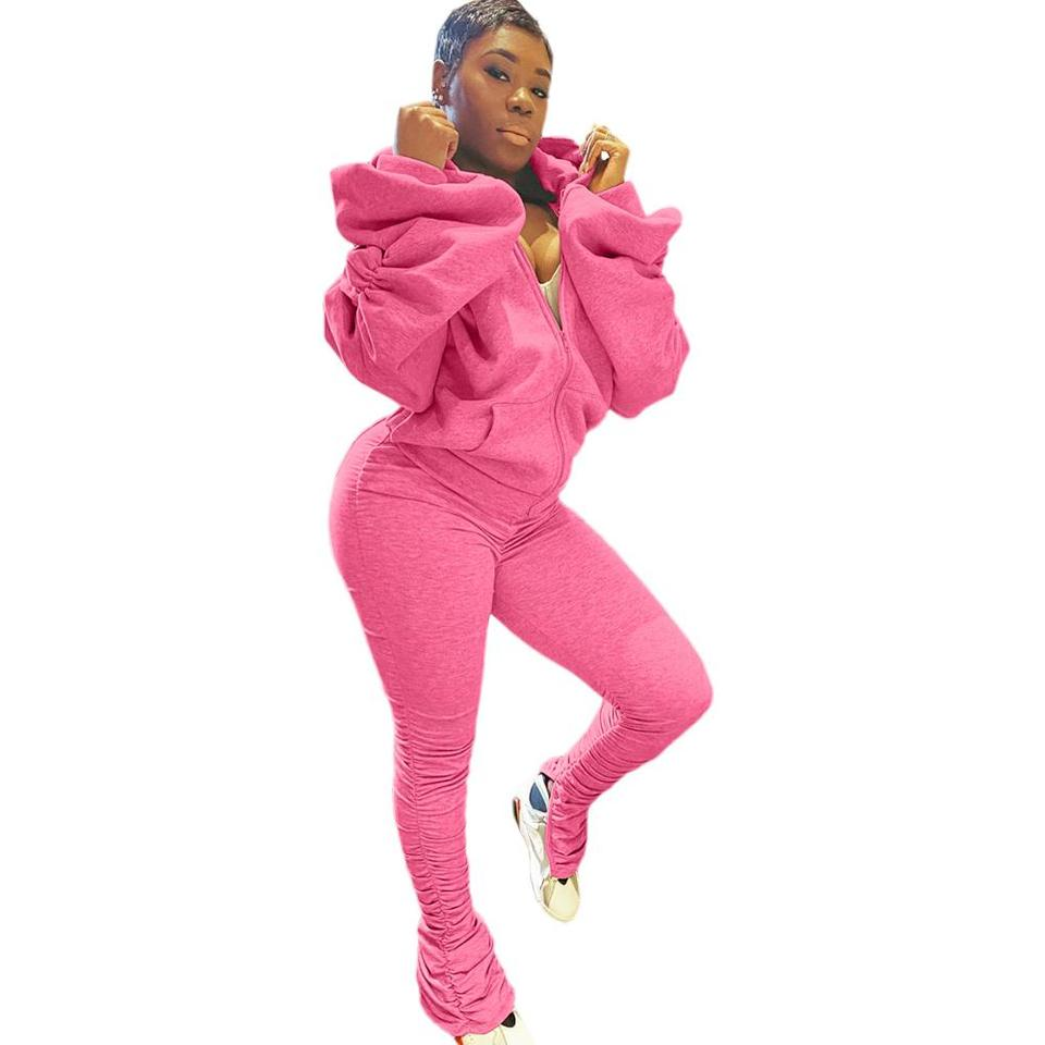 Fashion Womens Ruched Puff Sleeve Tracksuit Lace Up Top Bottom Lounge Wear Set