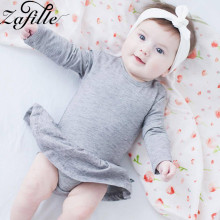 ZAFILLE Summer Solid Baby Girl Clothes Cotton Romper Long Sleeve Ropa De Bebe Girls Clothing Newborn Suit