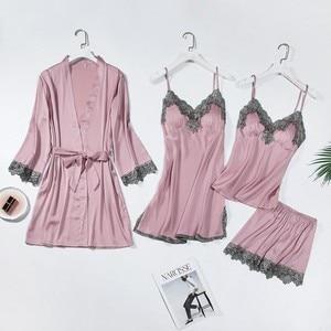 Image 5 - Lace Trim Bridal Wedding Robe Suit Women Sexy Sleepwear Loose Bride Bridesmaid Kimono Bath Gown Casual Bathrobe&Nighty Set