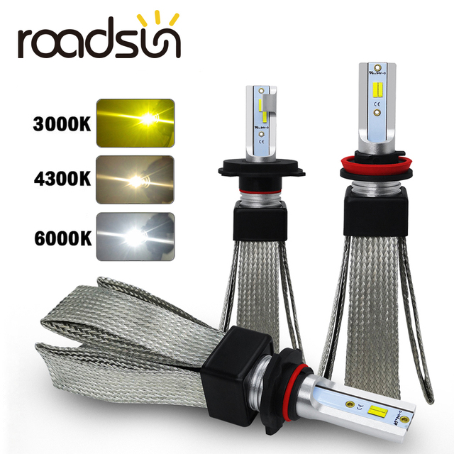 Roadsun csp H4 led H1 H11 9005 9006 H7 led車のヘッドライト 3 色変更ヘッドライト 3000 18k 4300 18k 6000 18k 50 ワット 12000LMオートライト