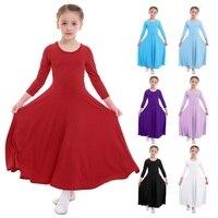 Хвалебное платье Детские платья для девочек, Одежда для танцев Плиссированное длинное платье для литургических танцев Детская одежда с рис...