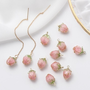 2pcs/lot real gold-plated resin strawberry Charms pendant For diy handmade earrings jewelry material package accessories