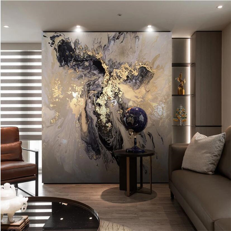 Beibehang Custom WallpaperNew Chinese Abstract Golden Mood Marbled Landscape Ink Background Wall 3d Wallpaper Papel De Parede