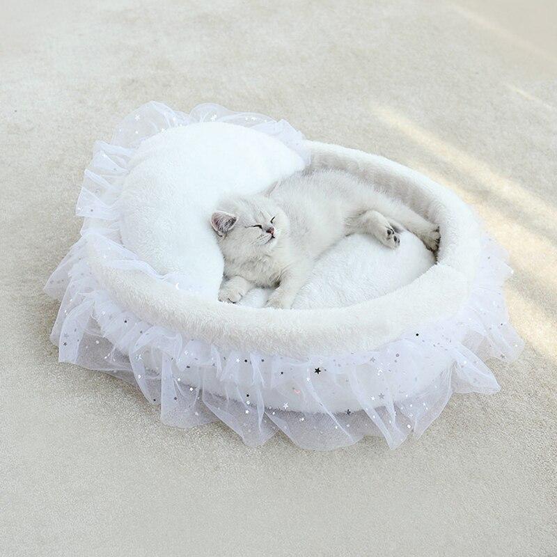 Gato redondo casa cama macia rendas princesa gato esteira cama canis ninho almofada do sofá do animal de estimação portátil animais de estimação dormir suprimentos