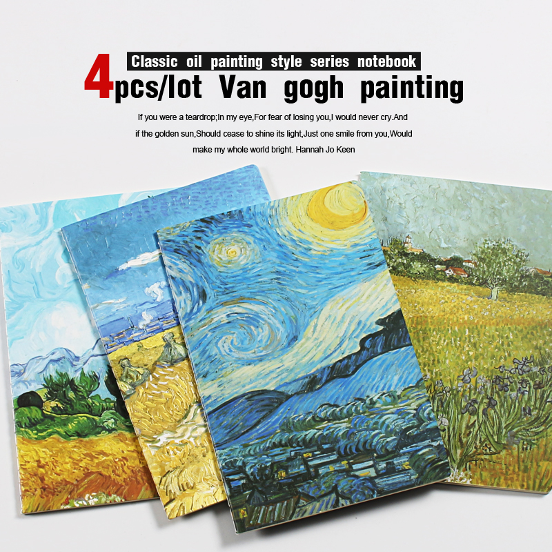 4pcs/lot Van Gogh Vintage Notebook A5 Diary Note Book Filofax Notepad Travelers Notatnik School  Stationery Small Notebooks