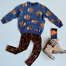 Pre-sale Kids Sets 2019 New Baby Boys Long Sleeve Sweatshirts Toddler Girls Cartoon Cow Jumpsuit+pants Print Cotton Children Set(China)