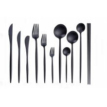 Black Tableware Forks Knives Spoons chopsticks Cutlery set Stainless Steel Complete Dinnerware Set Reusable Dropshipping