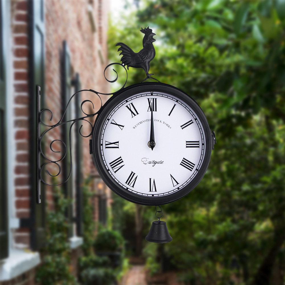 Decorative Rooster Vintage Time Antique Outdoor Wall Clock Garden Double Sided Hanging Iron Art Round Retro Quartz
