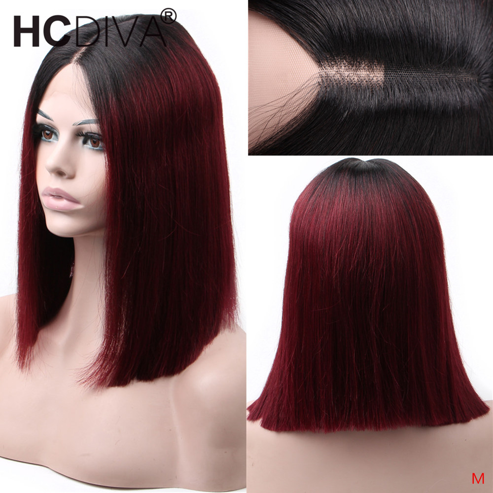 13*2 Lace Part Human Hair Wigs Middle Part Short Remy Wig For Black Women Perruque Cheveux 1B/99J Brazilian Remy Humain Hair Wig