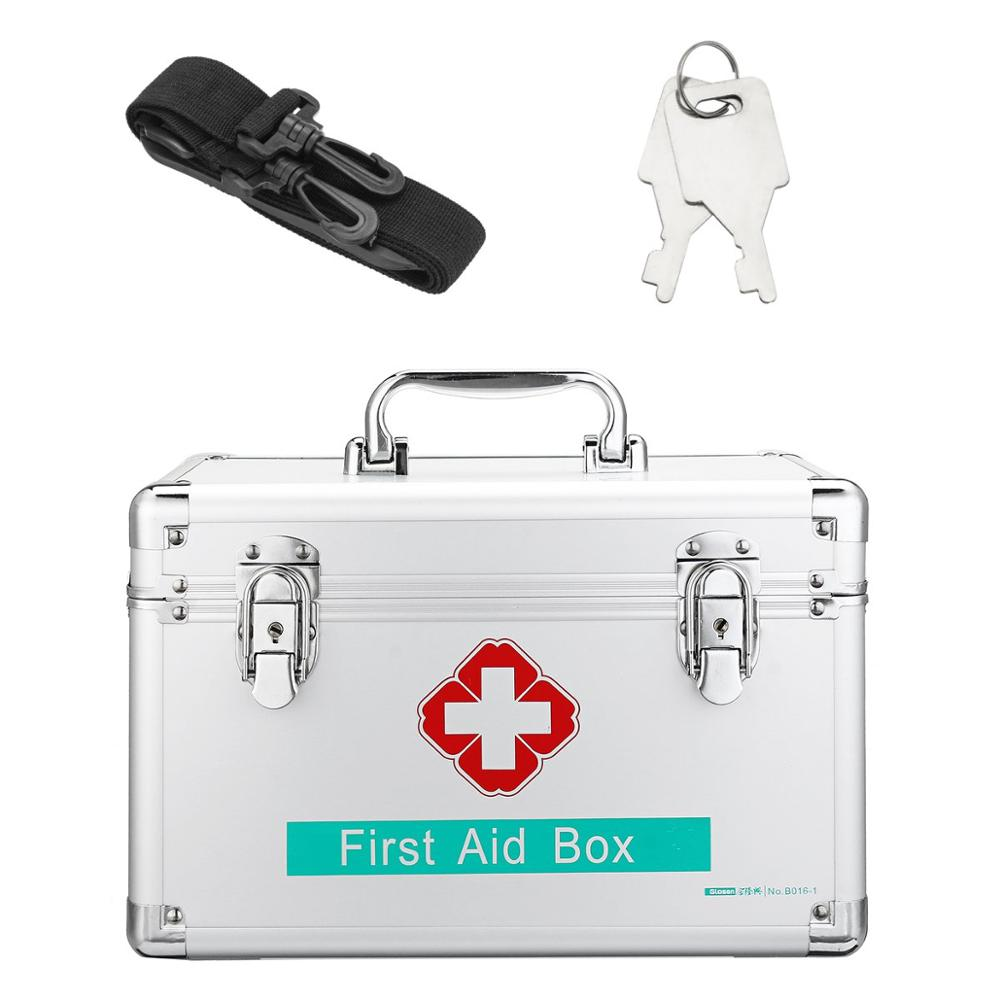 12Inch Lockable First Aid Case Durable Aluminum Frame Medicine Storage Container Box For Home Travel Workplace Household Medic
