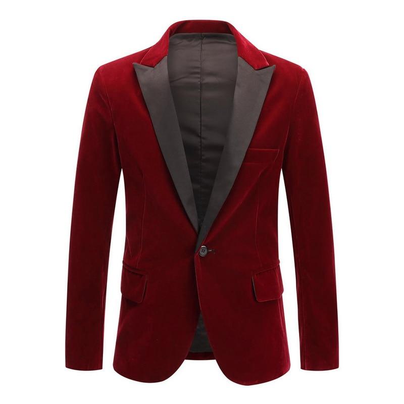 Men's 2020 New Spring Velvet Wine Red Black Fashion Leisure Suit Jacket Wedding Groom Singer Slim Fit Blazer Hombre Masculino