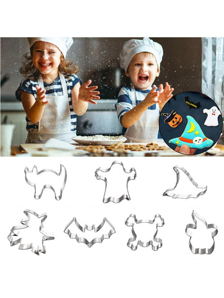 7 Pcs Halloween Cookie Cutter Set DIY Pastry Fondant Mold Stainless Steel Sugar Craft Cake Mold Decorating Frame Baking Tool