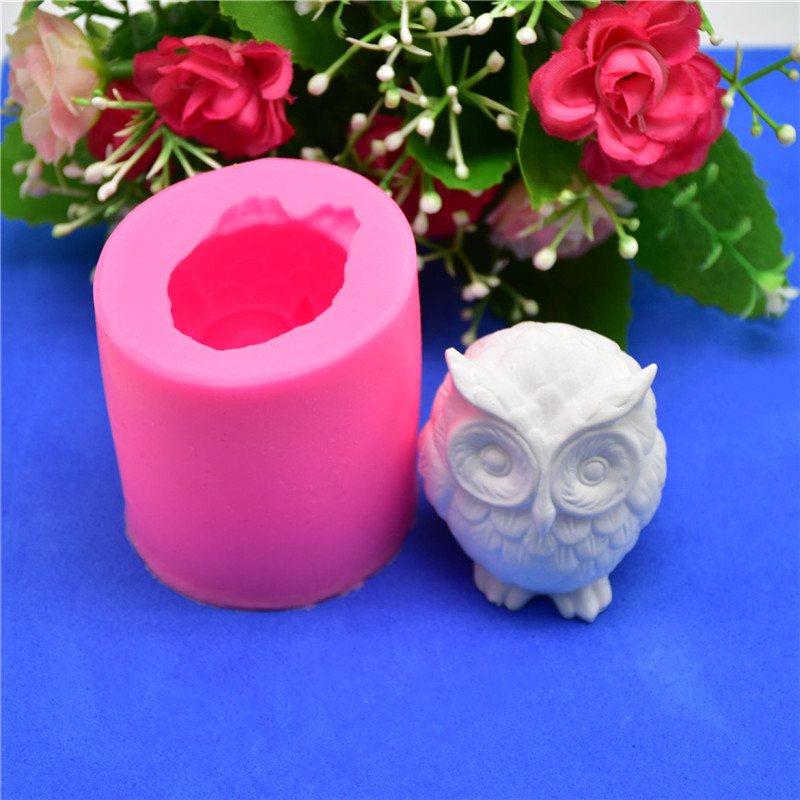 3D Owl Animal Silicone Soap Mold Resin Clay Candle Molds Fondant Cake Decorating Tools Chocolate Candy Pastry Cake Baking Molds