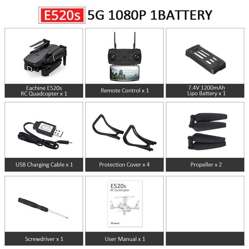 Eachine E520S E520 gps FOLLOW ME wifi FPV Квадрокоптер с 4 K/1080 P HD широкоугольная камера Складная Высота удержания прочный Радиоуправляемый Дрон - Цвет: E520S 5G 1080P 1B