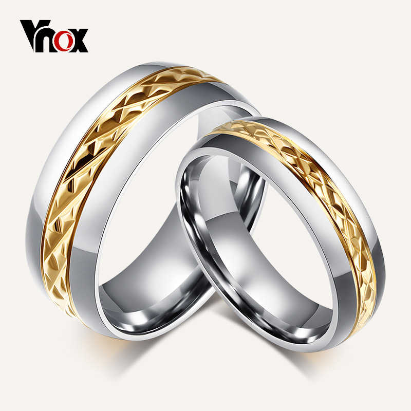 Vnox Gold-color Rhombus Surface Wedding Rings for Women Men Stainless Steel Couple Jewelry Promise Band Alliance Bijoux