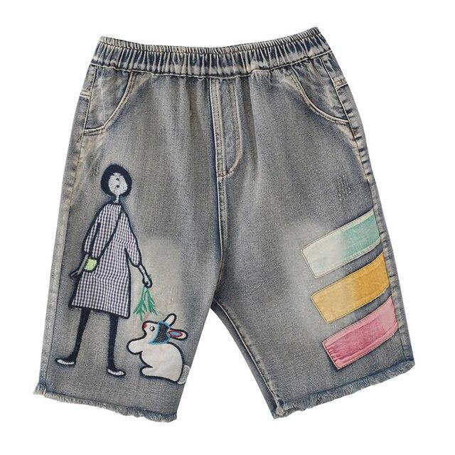 5176 Women Summer Streetwear Elastic High Waist Cartoon Embroidery Cute Korean Style Lady Female Oversized Loose Denim Shorts 5