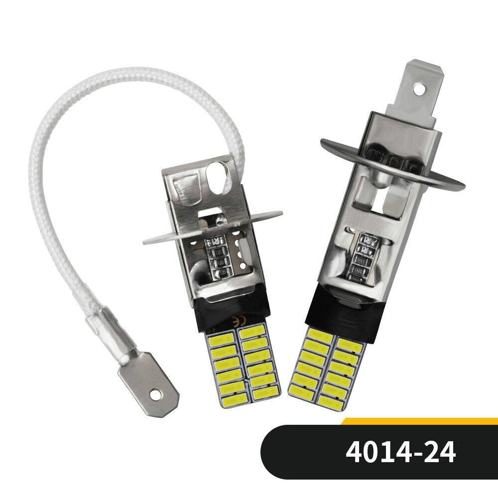 2pcs H1 H3 4014 24smd LED Bulb Car Fog Lights High Power Lamp Daytime Running Auto Leds Bulbs Car Light 12V White