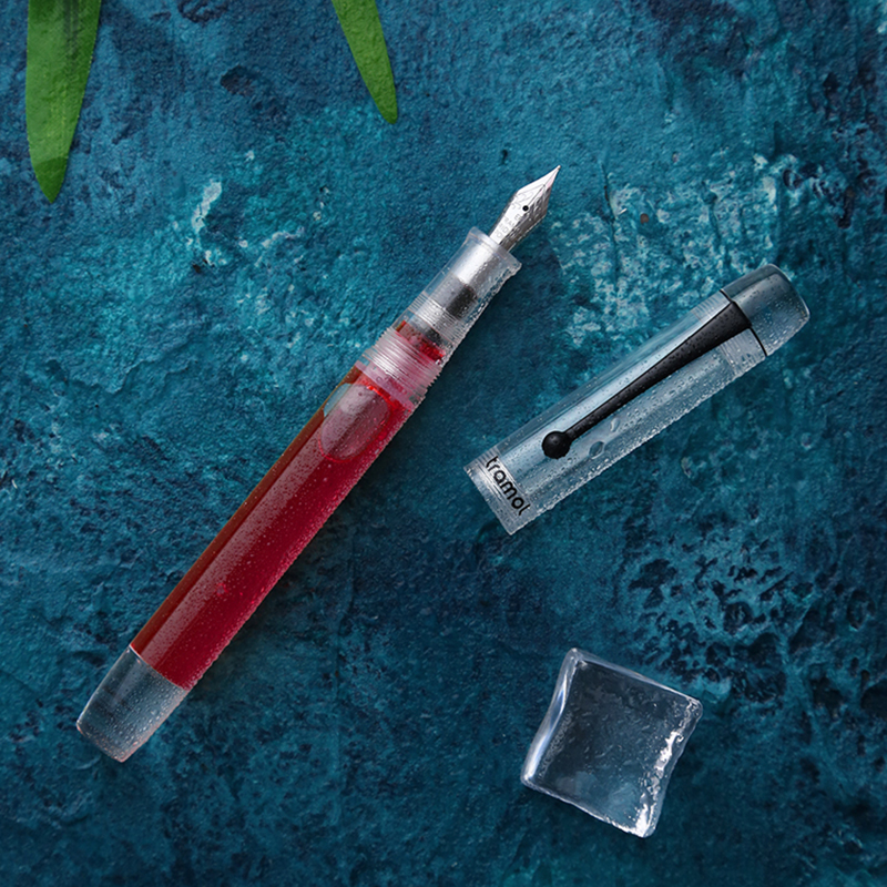 Tramol 328 Resin Dropper Fountain Pen Transparent Matte / Clear Body With Clip Large-Capacity Iridium EF/F 0.38/0.5mm Gift Pen