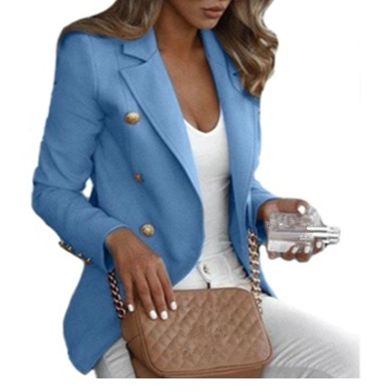 Brand Women Blazer Fashion Solid Slim Fit Office Ladies White Jacket Casual Double Breasted Outerwear Suits&Blazer Plus Size 5XL