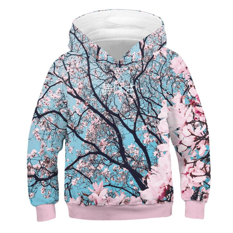 Sakura Girls Hoodies Cherry Blossoms 3D Print Boys Sweatshirt Kids Long Sleeve Hoodie Teen Casual Streetwear Hooded Pullover