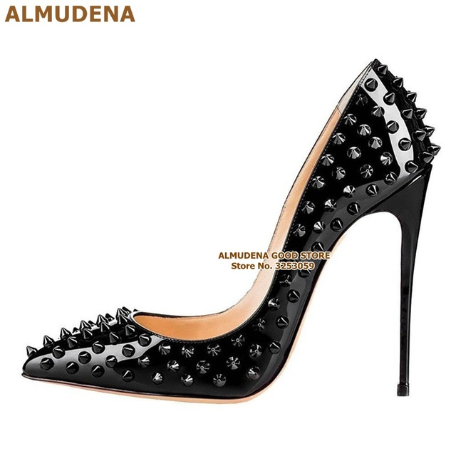ALMUDENA 8 10 12cm Stiletto Heels Rivets Pointed Toe Shoes Red Pink Black Studded Wedding Shoes Full Spikes Dress Pumps Size45 3
