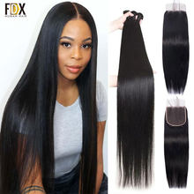 FDX пряди человеческих волос с застежкой прямые индийские волосы для плетения 3 пряди с 4X4 кружевной застежкой 28 40 дюймов Пряди с застежкой
