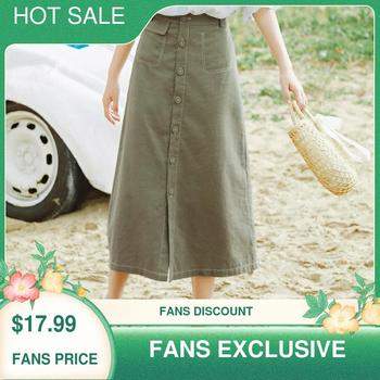 INMAN Summer Cotton and Linen Commuting Concise Style A-line Retro Skirt
