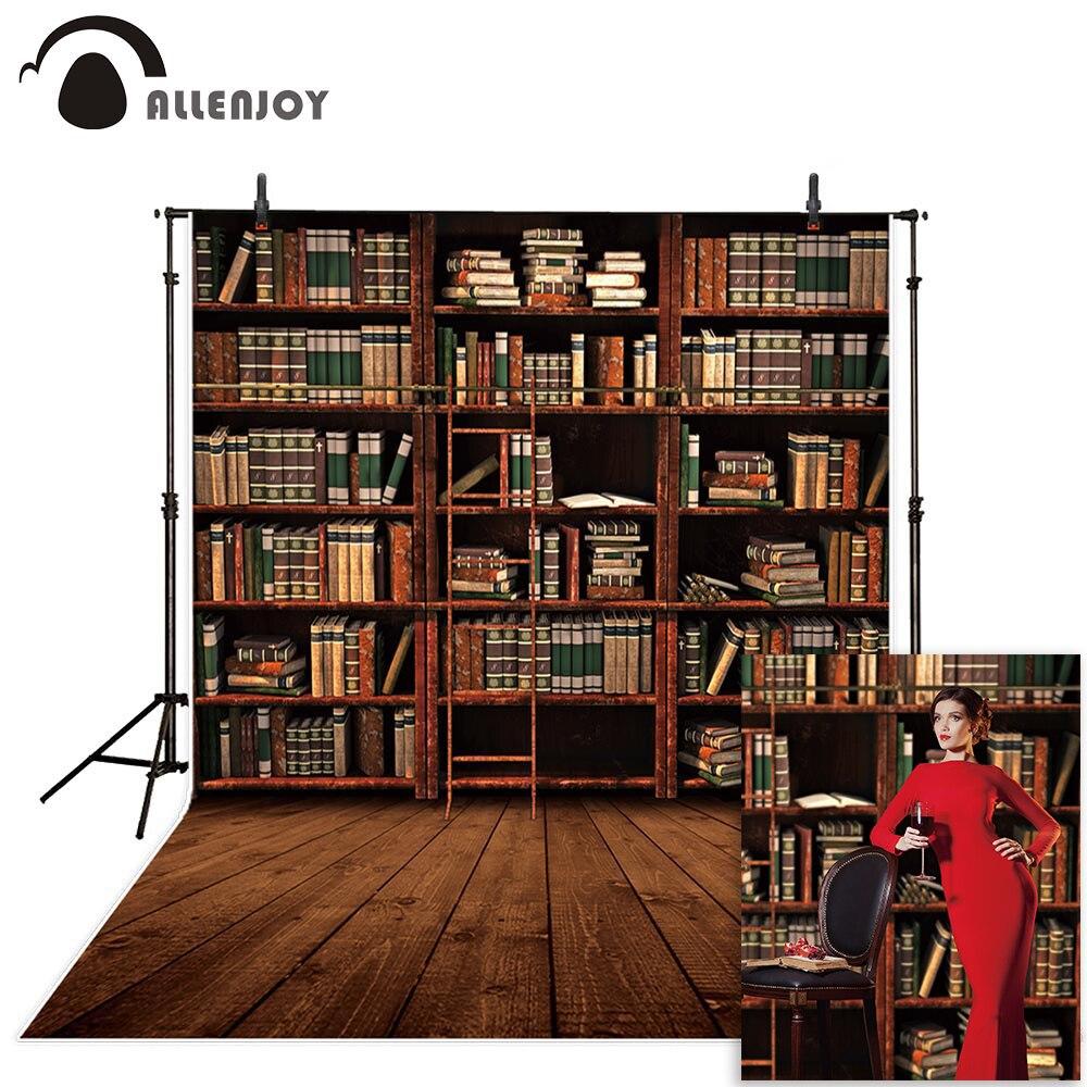 Allenjoy photoshoot backdrop vintage books Wooden bookshelf library background for photo studio new design camera photozone