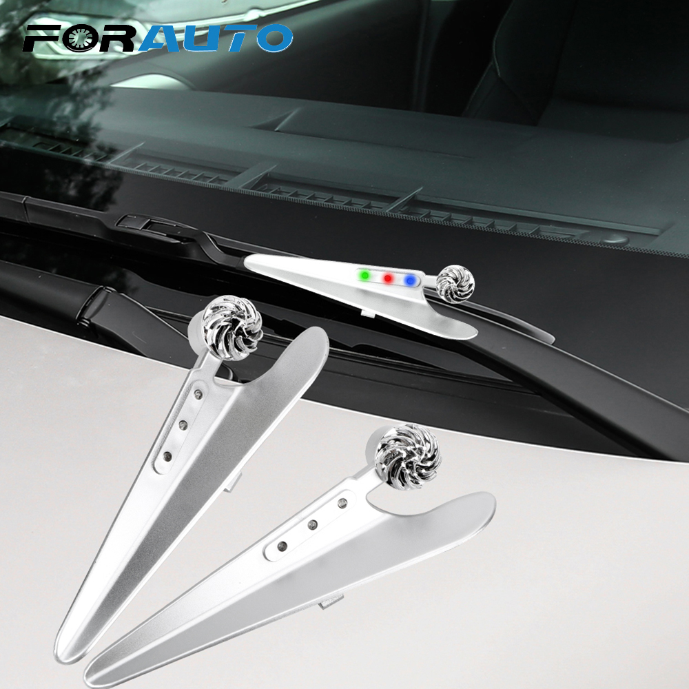 FORAUTO 1 Pair LED Wind Powered Car Wiper Decorative Lights Wiper Pressurizer Wiper Holder Windshield Wiper Decorative Lamp