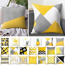 Throw-Pillow-Cover Geometric Nordic-Style Yellow Home Yes 18x18-Inch Cushion Sofa Polyester