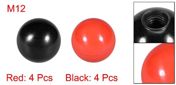 Uxcell 2-20 штук отверждаемый материал сферическая ручка с M6/8/10/12 внутренняя резьба машины ручки 30 мм Диаметр гладкая оправа Красного и черного цветов