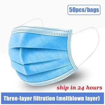 10pcs/50pcs/100pcs Disposable Mask Face Mouth Mask Non-woven Melt Blown Three-layer Mouth Mask Breathable Earloop Odorless Mask