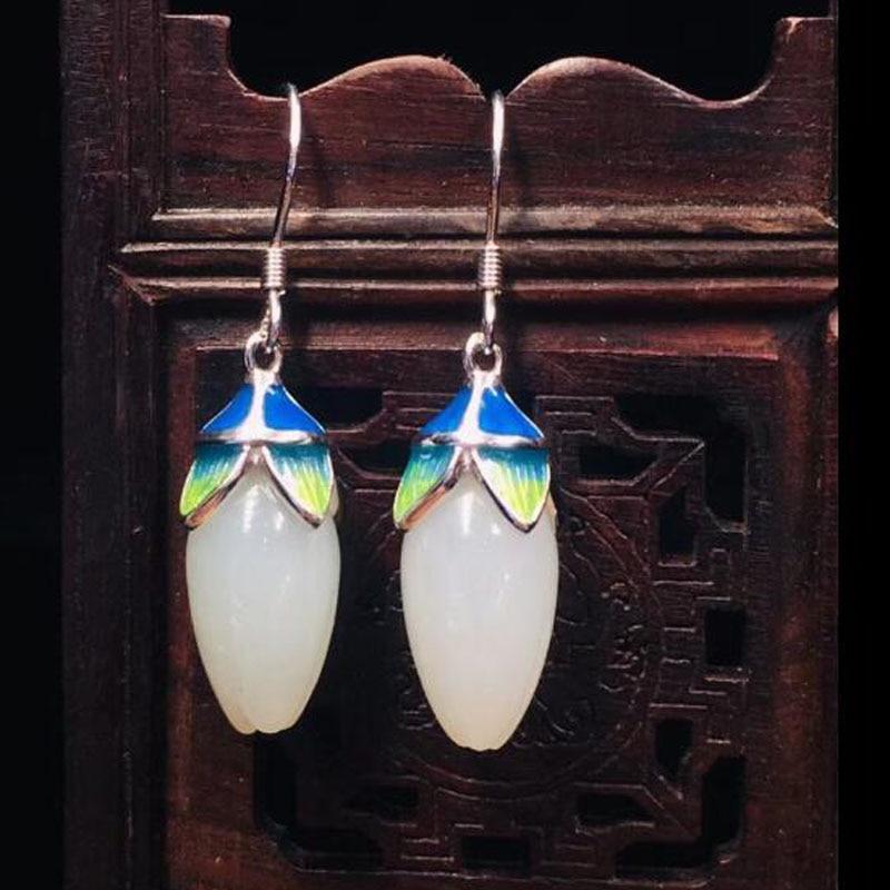 Naturel 925 argent Hetian blanc Jade avec Magnolia fleur goutte boucles d'oreilles mode bijoux pierres précieuses boucles d'oreilles bijoux pour femmes partie