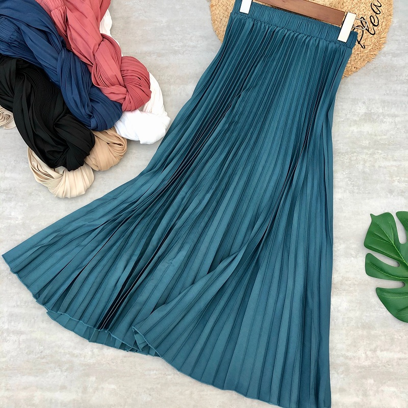 Women Long Skirts Summer Solid Color Midi Pleated Skirt Daily Casual Style Cotton Saia Femme Jupe Mid Calf