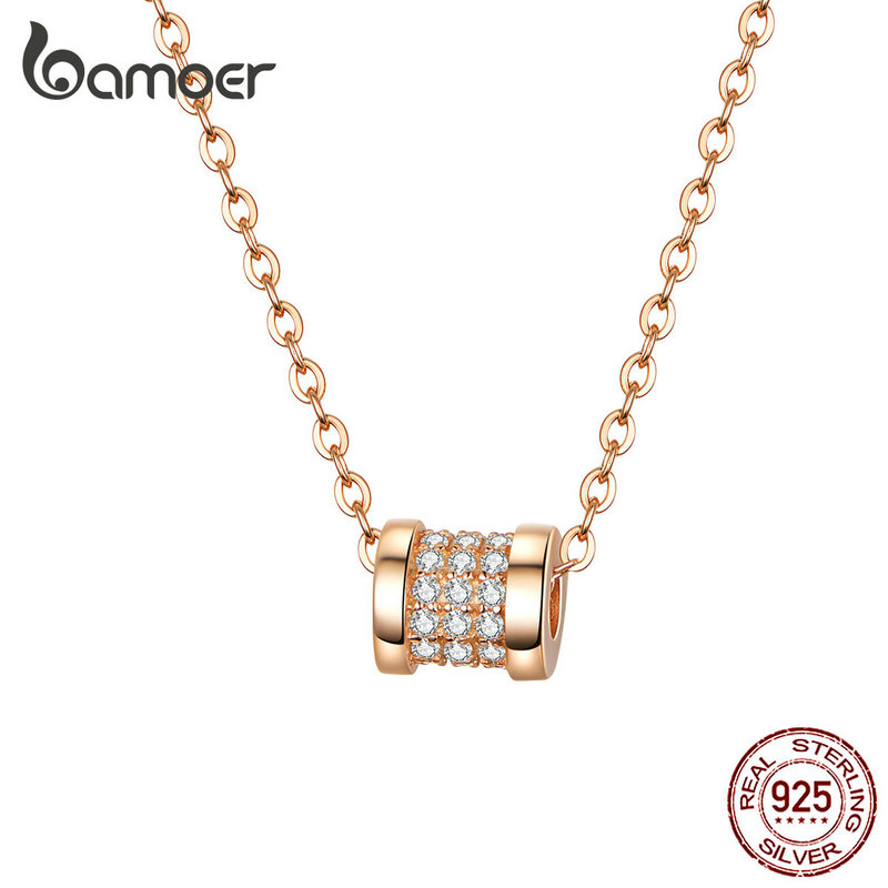 Bamoer Rose Gold Color Round Bead Necklace For Women Charm Necklace Sterling Silver 925 Valentine Day Gifts Jewelry BSN114