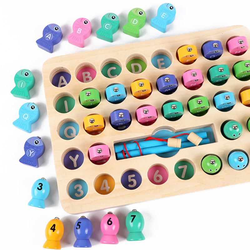 Wooden Magnetic Fishing Game Toy Kids Early Educational Learning Gifts Alphabet Letters Number Puzzles for Toddler