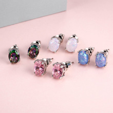 1 Pair of European and American Simple and Fashionable Oval Crystal Opal Earrings Fashion Style Crystal  Earrings