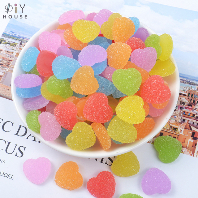 10/20/30Pcs Color Love Heart Sweets Flatback Planar Resin DIY Craft Supplies Phone Shell Decor Material Hair Accessories Arts