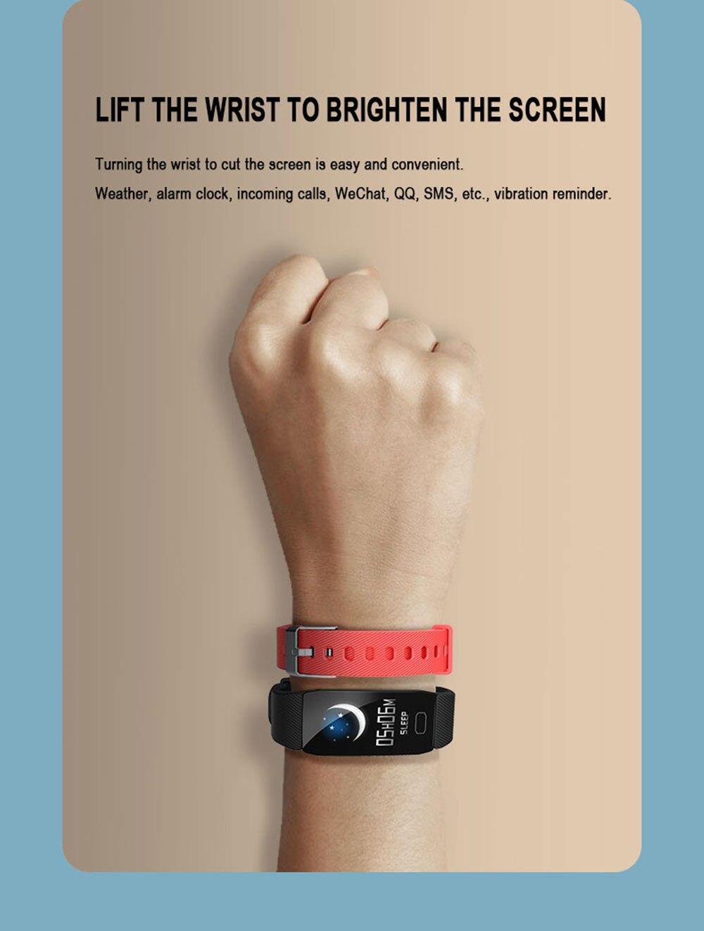 H35647f87afcd4921be9b7c343c80a652n Fitness Bracelet Blood Pressure 1.14'' Screen Fitness Tracker Smart Watch Waterproof Smart Wristband Weather Display Women Men