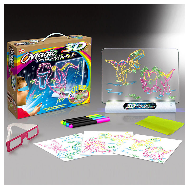 1Set Early Educational Toy 3D Drawing Board Multi-function Sketchpad Magic 3D Drawing Pad Flashing Board Drawing Without Box