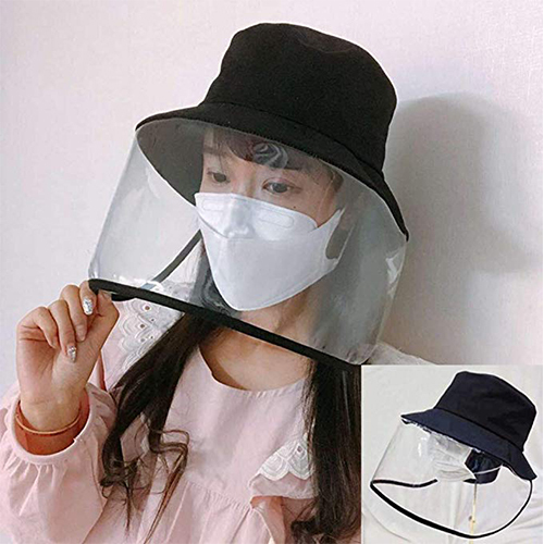 Epidemic Protection Hat Anti Saliva UV Hat with Face Shield Full Face Isolation Anti-Pollution for Fishing Boonie Camping Hiking