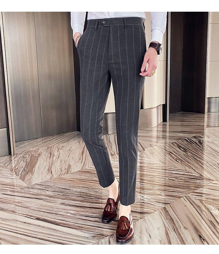 Camicia Uomo Slim Fit Mens Dress Pants Striped Plaid Formal Wedding Trousers Office Pantalon Homme Business Suit Pants 2020
