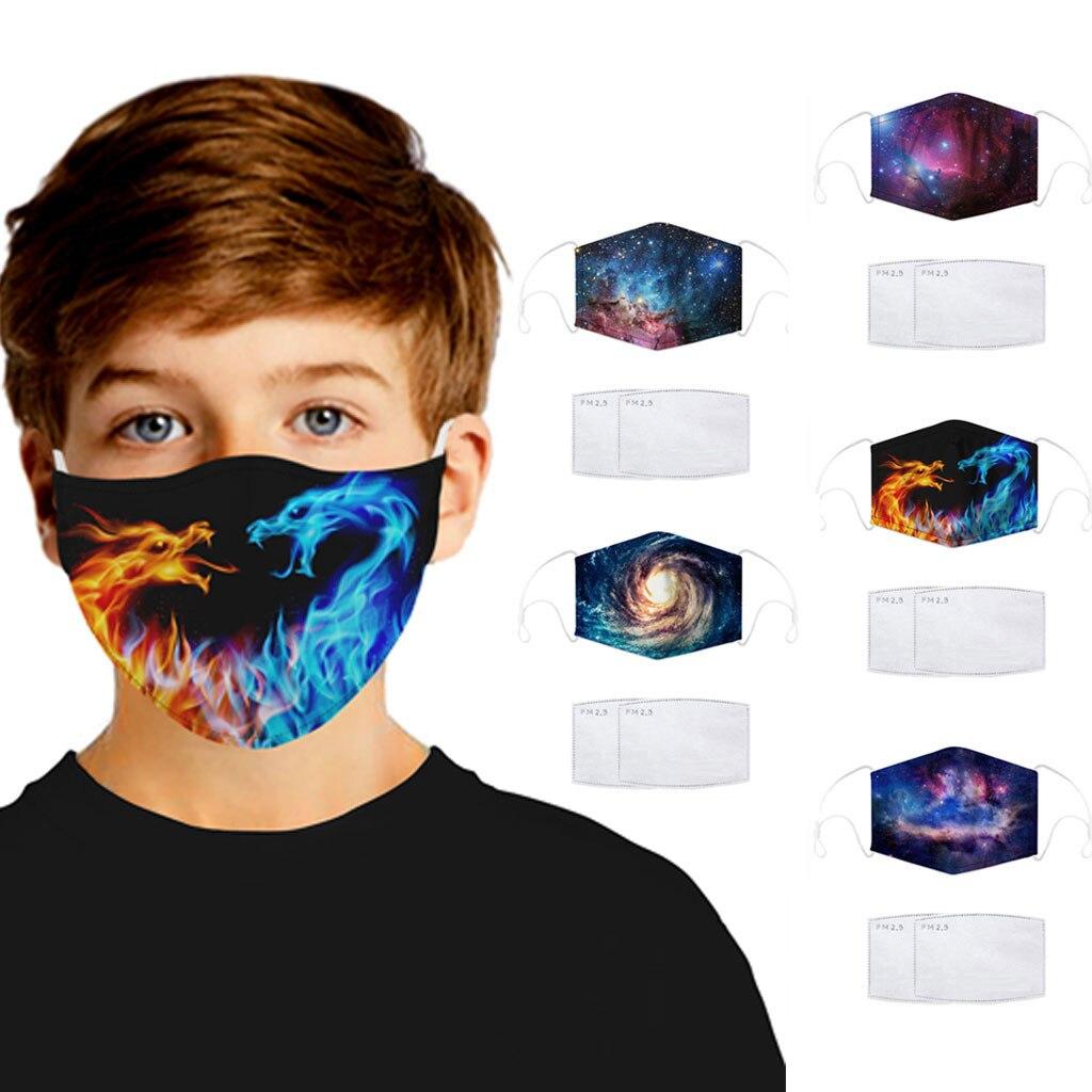 Moda crianças 3d impressão poeira rosto boca máscaras ao ar livre à prova de vento haze protetor facial lavável máscara reutilizável| |   -