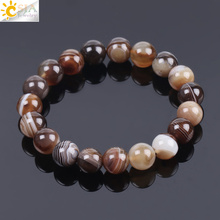CSJA Natural Round Gem Stone Agates Onyx Men Bracelets Bangle 10mm Brown Stripe Ethnic Rosary Energy Beads Prayer Wristband F113