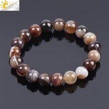 Мужской браслет CSJA из натурального драгоценного камня, агата, оникса, 10 мм, коричневая полоса, этнические четки, энергетические бусины, молитвенный браслет F113