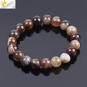 Image 1 - Мужской браслет CSJA из натурального драгоценного камня, агата, оникса, 10 мм, коричневая полоса, этнические четки, энергетические бусины, молитвенный браслет F113