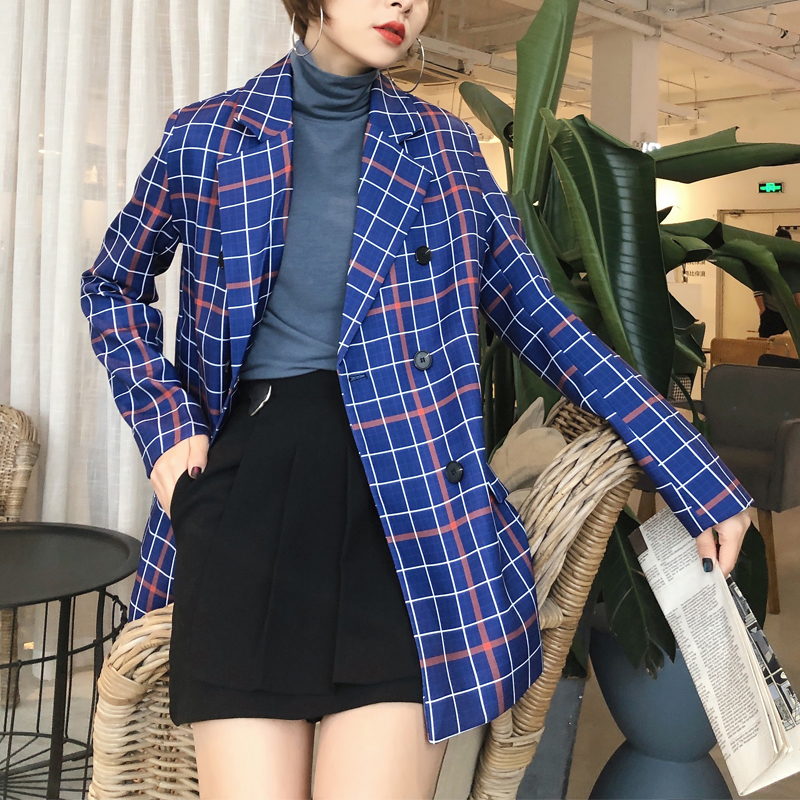 Spring And Autumn Women's Suit Casual Plaid Double-breasted Pocket Decoration Suit