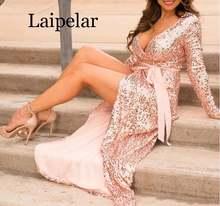 Женское вечернее платье макси с блестками v образным вырезом
