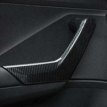 Lsrtw2017 for Volkswagen Vw T-roc Car Inner Door Armrest Strip Trims Interior Accessories Mouldings 2018 2019 2020 Carbon Fiber