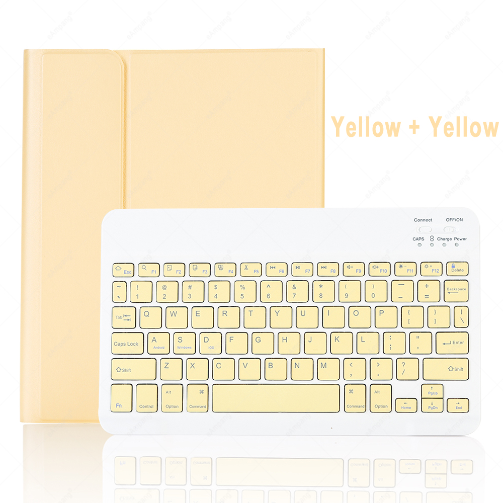 Yellow with Yellow Coffee For iPad 10 2 2019 2020 Keyboard Case with Pencil Holder for Apple iPad 7th 8th